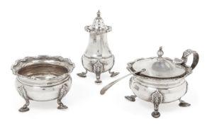 A silver three piece condiment set, Birmingham, c.1938, AE Poston & Co., comprising salt, pepper and