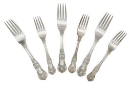 A set of nine Victorian silver Queen's pattern table forks, Sheffield, c.1876, Fenton Brothers,