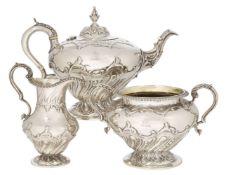 A Victorian silver three-piece tea set, London, c.1838, Edward, Edward Junior, John & William