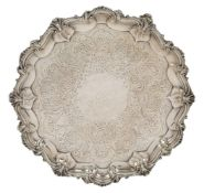 A Victorian Scottish silver salver with shaped shell and scroll perimeter, Edinburgh, c.1839, Robb &