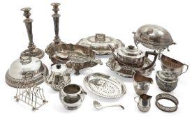 A Victorian silver tea pot, Birmingham, c.1881, Elkington & Co., and a matched cream jug, London,