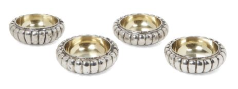 A set of four William IV silver salts, London, c.1835, William Eley II, of shallow, lobed form