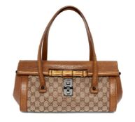 A Gucci Monogram Bamboo Bullet bag, the rectangular form body decorated with distinctive 'GG'
