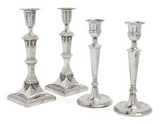 A pair of Victorian silver candlesticks, Sheffield, c.1892, Mappin & Webb, the square bases with