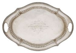 An Edwardian silver tray, Sheffield, c.1906, Cooper Brothers & Sons Ltd, the shaped gadroon rim to