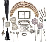 A garnet diadem and a collection of antique paste jewellery, the gilt diadem of openwork design