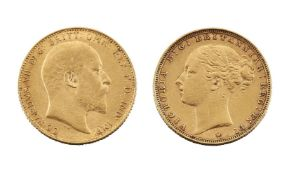 Two gold sovereigns, one Victoria Young Head, 1885, and one Edward VII, 1907 (2)Please refer to