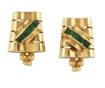 A pair of green glass earrings, the tapered pierced undulating panels with bead detail and central