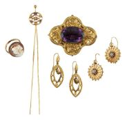 A small group of jewellery, comprising: a pair of 19th century gold and turquoise earrings, the
