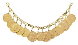 A figaro link coin bracelet, suspending four pendant mounted sovereigns and ten half-sovereigns