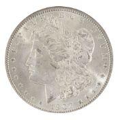 Fifty four USA silver Morgan Dollar coins, 1879 (2), 1880 (10), 1881 (8), 1883 (2), 1884 (8),