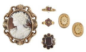 A small group of 19th century jewellery, comprising: two Victorian gold and gem cluster rings, one