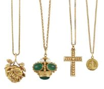 Four pendant necklaces, comprising: an oval cabochon green chalcedony and cultured pearl example
