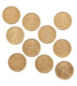 Ten Uruguay gold 5 peso coins, 1930Please refer to department for condition report