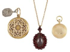 Three 19th century locket pendants, comprising: a gold circular example, the front with applied