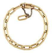A bracelet, of fetter link design, length 20.0cm, together with one spare link (split) and gilt