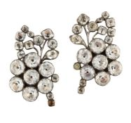 A pair of Georgian silver, foiled paste earclips, of floral spray design set throughout with vari-