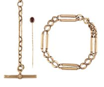 A late 19th century gold watch chain, of oval link design with rounded rectangular link spacers