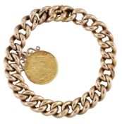 A bracelet with gold coin charm, the curb-link bracelet suspending a single South African gold 1