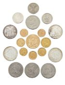 Eight gold coins, comprising: a Mexican 50 Pesos, 1947; an Italian 40 Lire, 1813; two sovereigns,