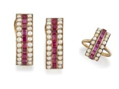A seed pearl and synthetic ruby ring and pair of earrings, each of curved panel design, the
