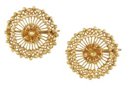 A pair of brooches, of openwork stylised flowerhead design with faceted bead detail, width 2.6cmOf
