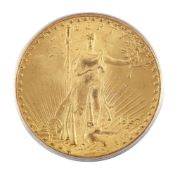 A USA gold $20 coin, 1927, in slab case from the Professional Numismatic Guild IncPlease refer to