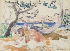 Henri Charles Manguin, French 1874 -1949- La Sieste, circa 1940; watercolour and pencil, signed