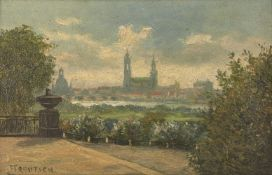 Franz Trautsch, German 1866 - 1920- View of a city; oil on board, signed lower left, 18 x 27cm