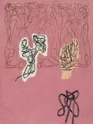 Jonathan Lasker, American b.1948- Untitled, 1989; oil and ballpoint pen on paper, 17.2 x 12.7cm