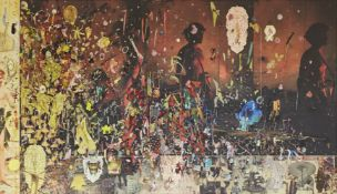Elliott Hundley, American b.1975- Exit Dionysus, 2010; Soundboard, ink jet on kitikata, paper,