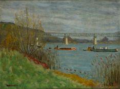 Eugène-Antoine Durenne, French 1860 -1944- Bateaux sur la seine; oil on canvas, signed lower