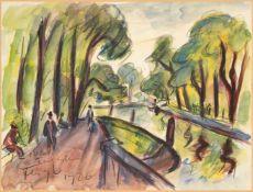Friedrich Feigl, Czech 1884-1965- Berlin, Tiergarten, 1926; gouache, charcoal and watercolour,