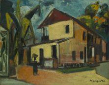 Floris Jespers, Belgian 1889-1965- Maison dans un village africain; oil on board, signed lower