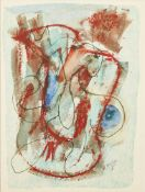 Henry Miller, American 1891-1980- Abstract; mixed media on paper, signed and dated 10/68 lower