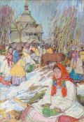 Leon Gaspard, Russian 1882-1964- Village church in early spring, 1911; pencil and oil on canvas