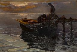Louis Bonamici, French 1880-1966- Bringing in the catch, Sunset; oil on board, signed lower left, 19