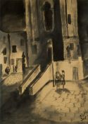 Marcel Ronay, Hungarian 1910-1998- Vienna street scene, 1931; ink wash, signed with initials and