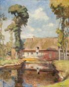 Jules Casimir Wielhorski, French 1875-1961- Maison face à une rivière, circa 1920; oil on canvas,