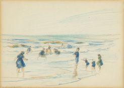 Frank Emanuel, French 1865-1948- Les gens à la plage, 1887; pencil, signed lower left, 16 x 23cm(