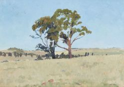 Sir Charles Lloyd Jones, Australian 1878-1958- Blue Morning; oil on board, signed lower right;