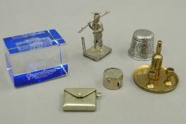A small quantity of items, including a stamp box, pin cushion, a Chinese silver figure, etc.