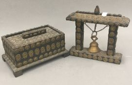 A brass mounted Tibetan box and matching bell