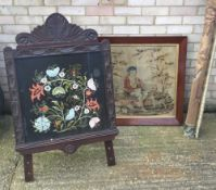 A Victorian tapestry on stand,