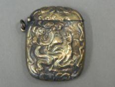A Nouveau style brass vesta