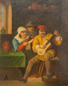 """After TENNIERS, Dutch Tavern Interior Scene, oil on tin, signed """"Tenniers"""", framed and glazed."""