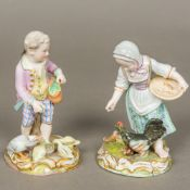 A pair of 19th century Meissen porcelain figurines, one formed as a young boy feeding geese,