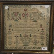 A 19th century sampler by Susan Smith, age 14,