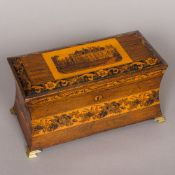 A Victorian Tunbridgeware tea caddy, of waisted rectangular form,