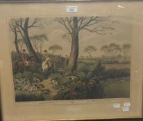 A coloured hunting print, Hare Hunting No 1,